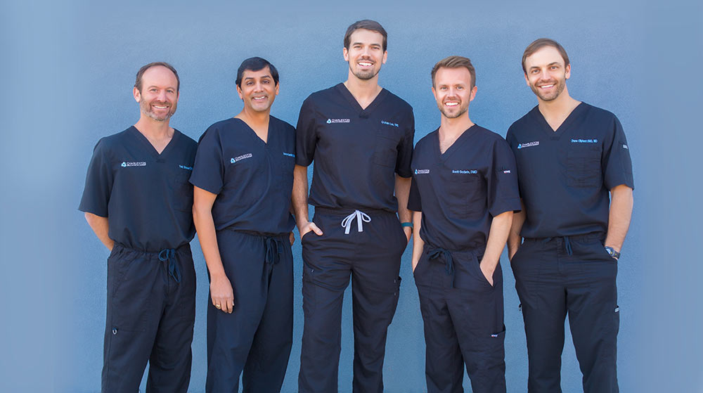 From left to right, Dr. Edward R. Strauss, Dr. Aaron P. Sarathy, Dr. D. Graham Lee, Dr. Scott H. Godwin and Dr. A. Drane Oliphant of Charleston Oral and Facial Surgery.
